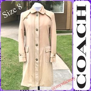 COACH Long Tan Trench Coat Jacket w Leather Trim 8